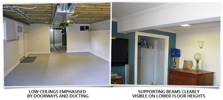 low ceilings and exposed beams are a reality when you choose not to raise your home