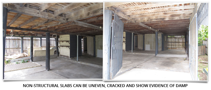 Non-structural slab can impact the approval to build in under your home legally