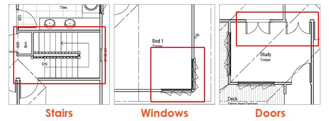 Home Floor Plan Door, Stair and Window Samples